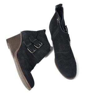 Dolce Vita Black Suede Leather Side Buckle Booties